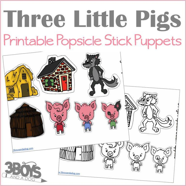 picture about Three Little Pigs Printable named A few Tiny Pigs Popsicle Adhere Puppets - 3 Boys and a Pet, Retail outlet