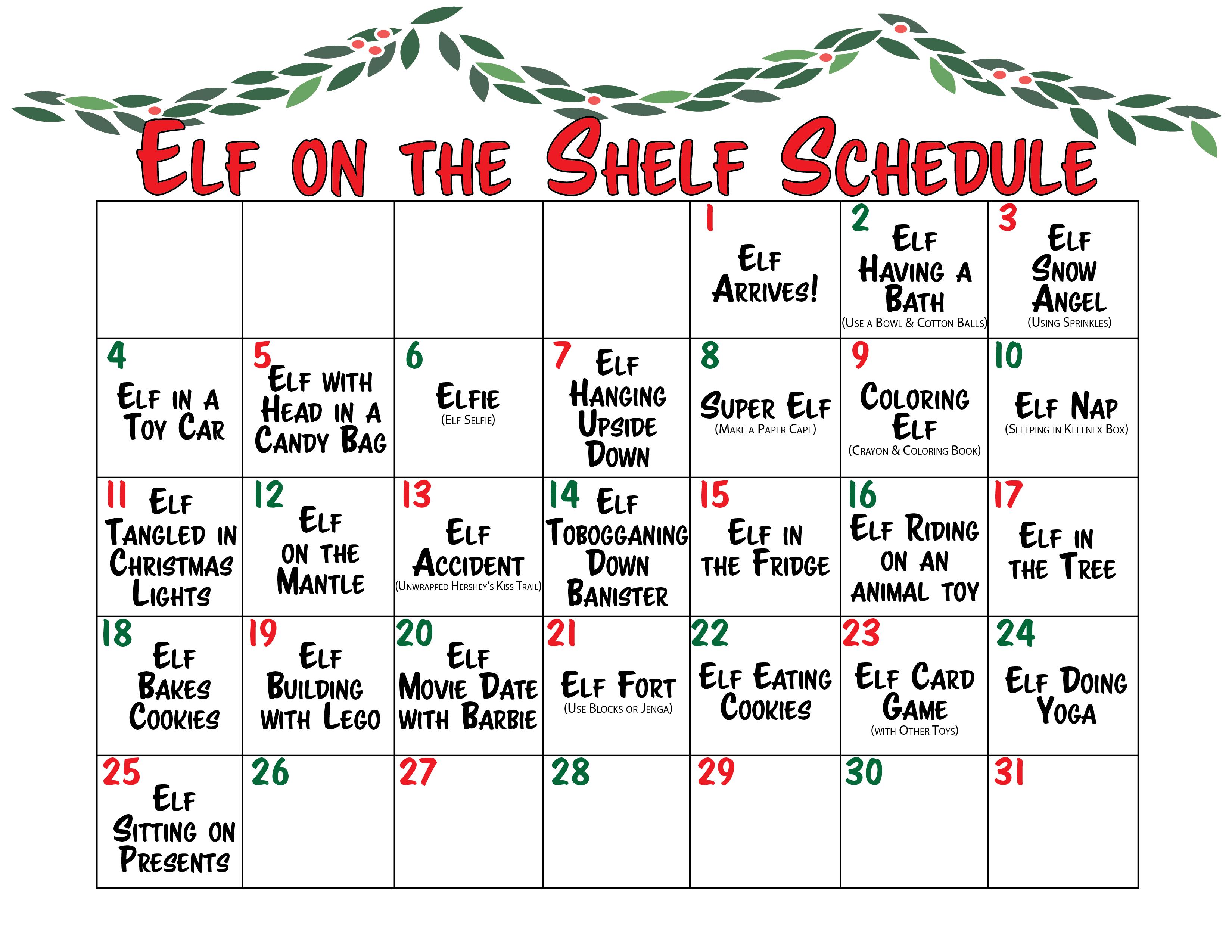 Elf on the Shelf Printable Calendar