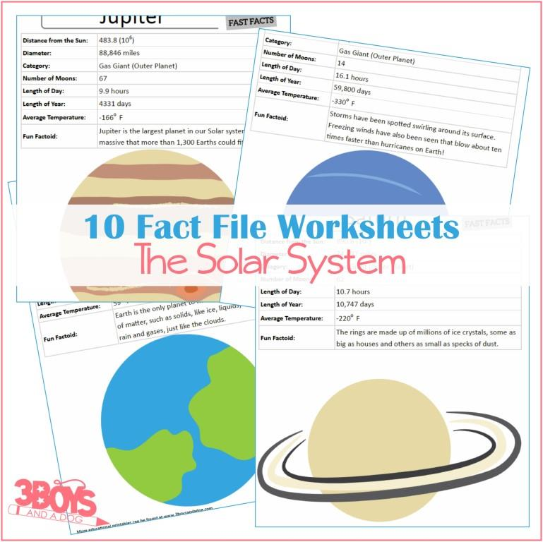 Fact Files Worksheets about the Solar System