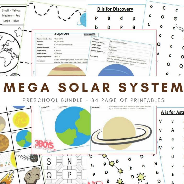 Includes the Solar System Learning Pack, the Solar System Letter Finds Pack, AND the Solar System Fact Files - save with the bundle With 84 pages of learning fun, your child will stay engaged while strengthening many skills including fine motor!