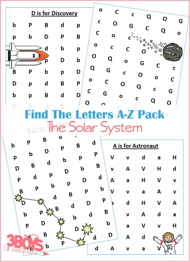 The A to Z Letter Finds Solar System Pack