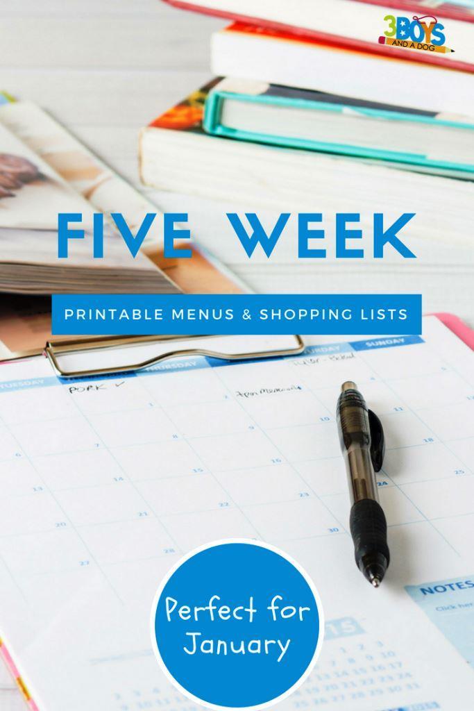 Meal Planning Printables: Weeks 1 through 5