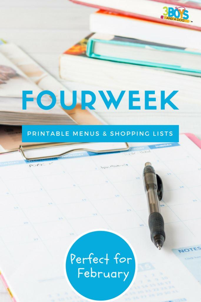 Meal Planning Printables: Weeks 6 through 9