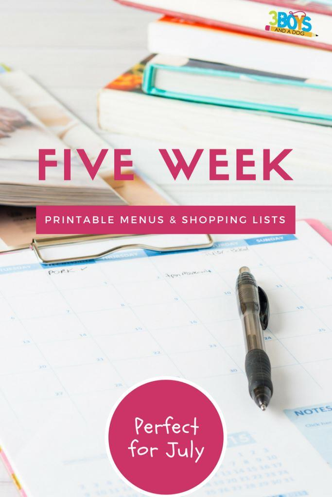 Meal Planning Printables: Weeks 27 through 31