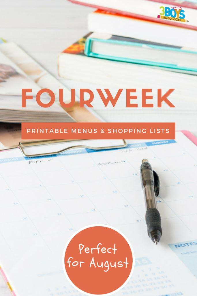 Meal Planning Printables: Weeks 32 through 35 Perfect for August!