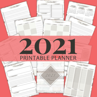 2021 Printable Planner: Distressed Wood