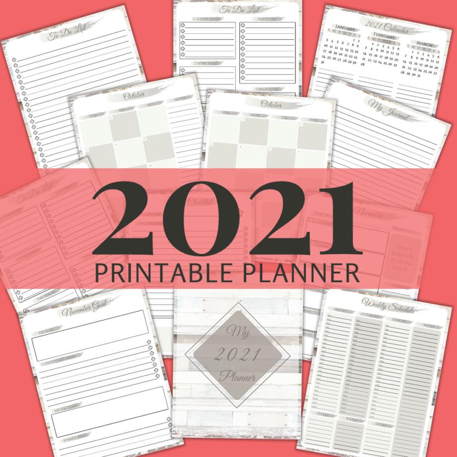 2021 Printable Planner: Distressed Wood