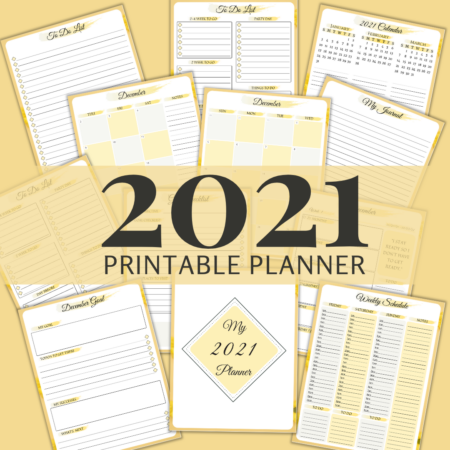 2021 Printable Planner: Yellow Daisy