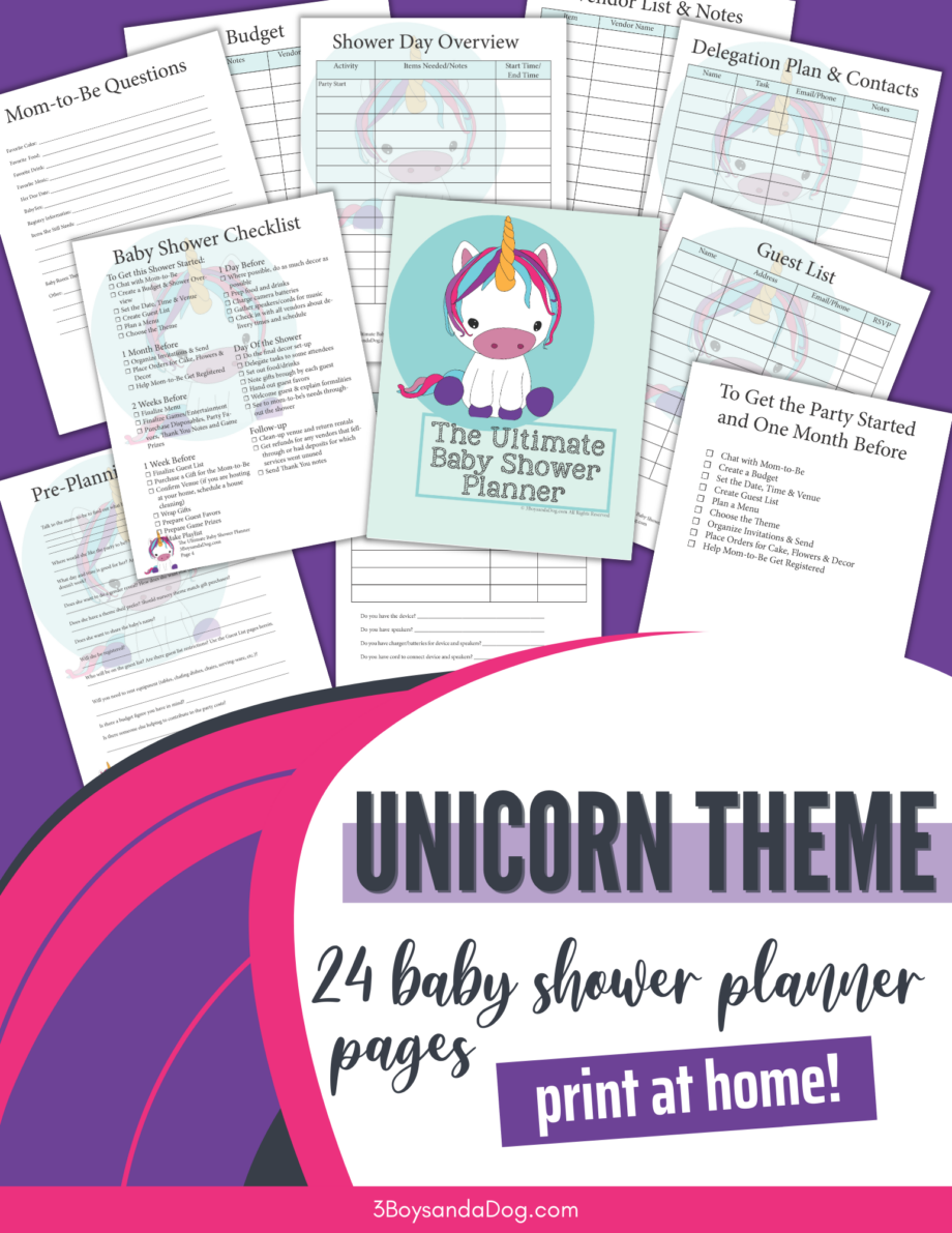Unicorn Themed Baby Shower Planner